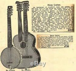 1920-1930 Sears Roebuck Harmony made Supertone Double Neck Acoustic Harp Guitar