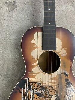 Rare Regal Made Buck Jones Cowboy Guitar 1940's Stenciled Southwest Scene