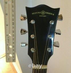 Rare Vintage Suzuki Three's Est 1887 Gw-15 Acoustic Guitar. Made In Japan