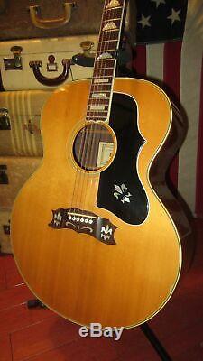 Vintage Circa 1976 Dixon Model 758 Jumbo Acoustic J-200 Copy Natural Japan Made