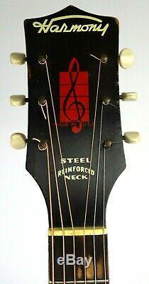 1960 Vintage Harmony Archtop Guitare Acoustique Avec Le Cas De Nice! H1213 Made In USA