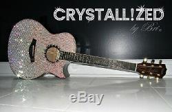 Bling Crystallized Guitare Acoustique Sur Mesure Tous Les Cristaux Électrique Made Withswarovski