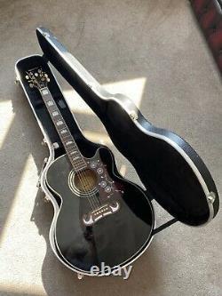Epiphone J200 Sce Electro Acoustic Guitare Noir Avec Cas Dur Sur Mesure