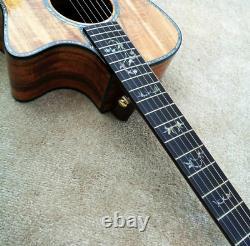 Guitare Acoustique Sur Mesure, Abalone Inlaid Ebony Fretboard