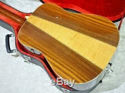 Morris W-50 Guitare Acoustique 1970 Autour De L'âge Fabriqué Au Japon Avec Étui Rigide