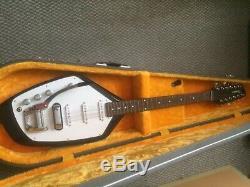 Phantom Vox Gaucher 12 Cordes De Guitare (sur Mesure) Noir Et Blanc Avec Tremolo
