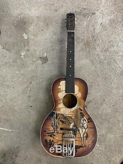 Rare Regal Made Buck Jones Cowboy Guitar 1940 Poncif Southwest Scene