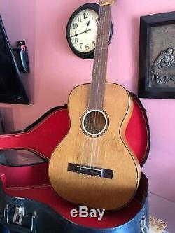 Taille Galiano Concert Guitare Acoustique Made In Usa. 1925 + Silber Hard Case