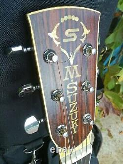 Vintage 1979 M. Suzuki W-300 Guitare Acoustique Fabriqué Au Japon Mij Rosewood Martin D-28