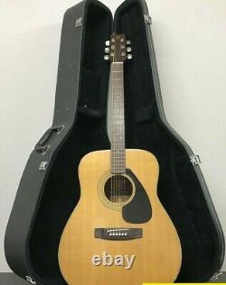 Yamaha Fg-200 Black Label Acoustic Guitar 1975 Fabriqué Au Japon Avec Boîtier Dur